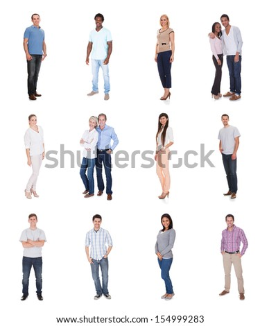 Large group of diverse people. Isolated on white - stock photo