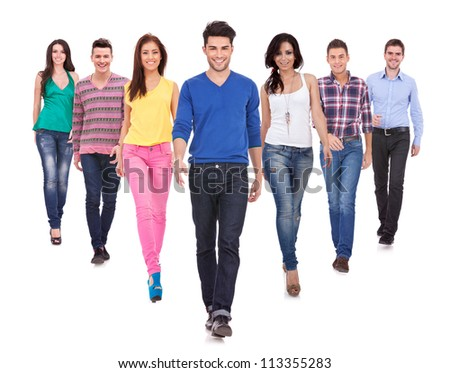 Large group of friends, young casual people,  walking together and looking at their future isolated on white background - stock photo
