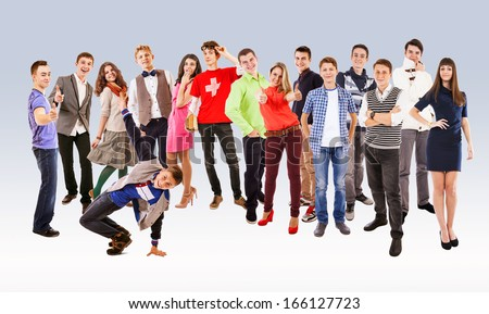 Large group of happy multicolored dressed teenagers - stock photo