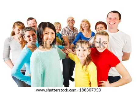 Large Group of Happy People smiling and showing unity. - stock photo