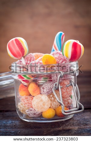 Large group of homemade candies in the jar,selective focus  - stock photo