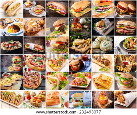 Large group of junk food in one photo - stock photo