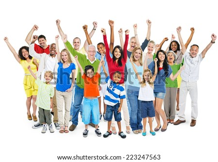 Large group of multi-ethnic diverse mixed age people celebrating with their hands raised. - stock photo