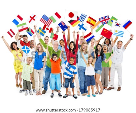 Large Group of Multi-ethnic Diverse People Celebrating with Flags - stock photo