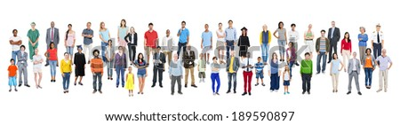 Large Group of Multiethnic People with Various Occupations - stock photo