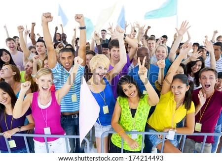 Large Group of People Celebrating - stock photo