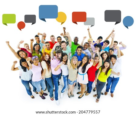 Large Group of People Celebrating - stock photo