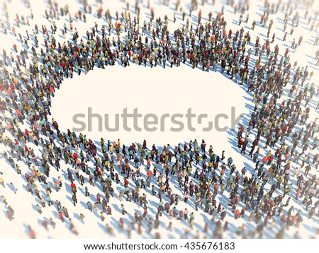 Large group of people forming a speech bubble symbol - 3D illustration - stock photo
