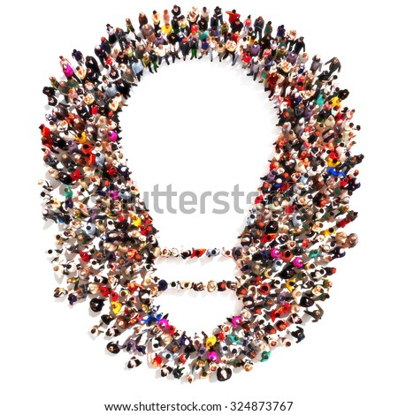 Large group of people forming the shape of a light bulb with room for text or copy space. Ideas,Leading the pack, ingenuity,taking the initiative,standing out from the crowd concept isolated on white. - stock photo