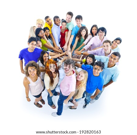 Large Group of People Holding Hands - stock photo