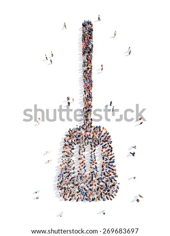Large group of people in the form of a chef's blade. Isolated, white background. - stock photo
