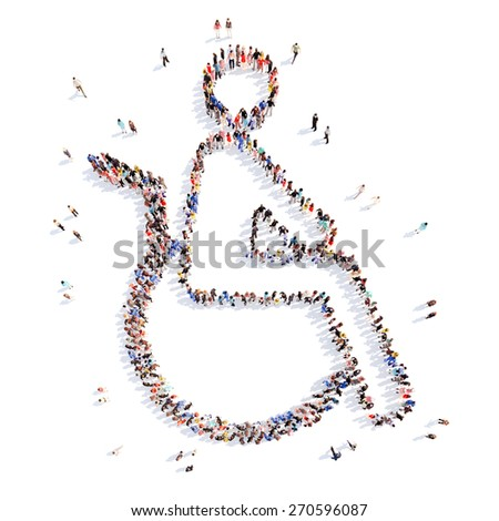 Large group of people in the form of a disabled person. Isolated, white background. - stock photo