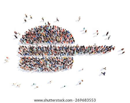 Large group of people in the form of a frying pan. Isolated, white background. - stock photo