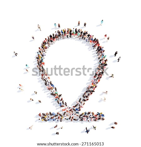 Large group of people in the form of a map pointer. White background. - stock photo