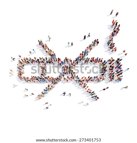 Large group of people in the form of a smoking ban. Isolated, white background. - stock photo