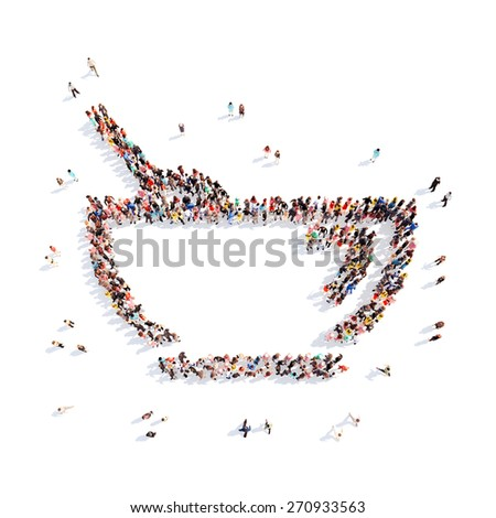 Large group of people in the form of children's cups. Isolated, white background. - stock photo