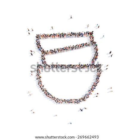 Large group of people in the form of cups. Isolated, white background. - stock photo