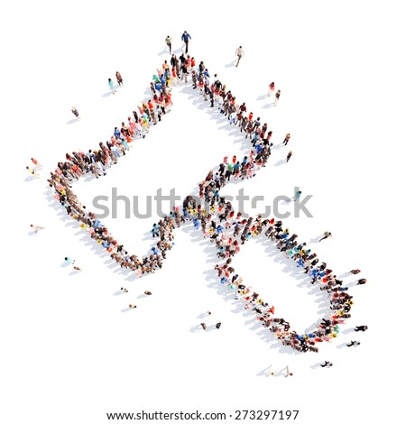 Large group of people in the form of gavel. Isolated, white background. - stock photo