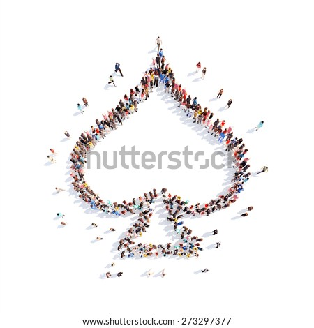 Large group of people in the form of   playing suits. Isolated, white background. - stock photo