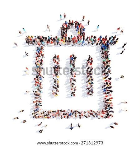 Large group of people in the form of the trash can icon. Isolated, white background. - stock photo