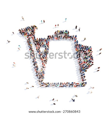 Large group of people in the form of watering. Isolated, white background. - stock photo