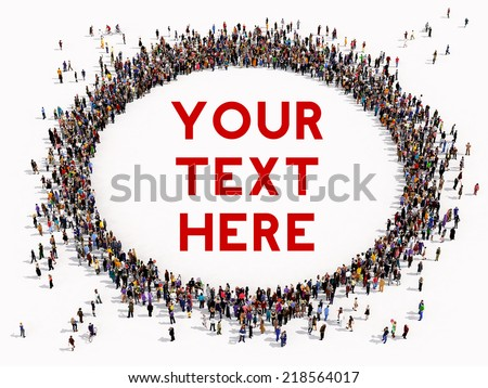 Large group of people seen from above, gathered in the shape of a circle, on white background  - stock photo