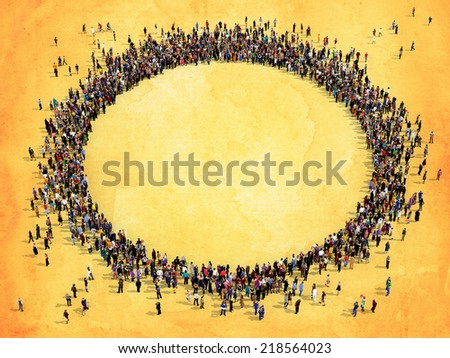 Large group of people seen from above, gathered in the shape of a circle, on yellow watercolor background  - stock photo