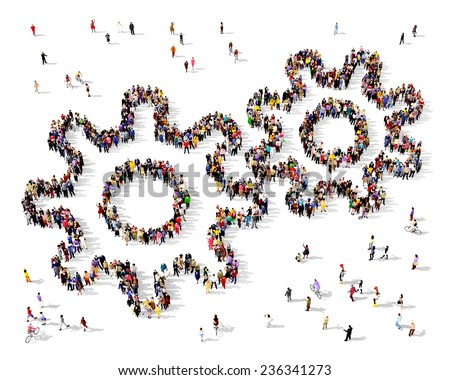 Large group of people seen from above gathered in the shape of a gear icon  - stock photo