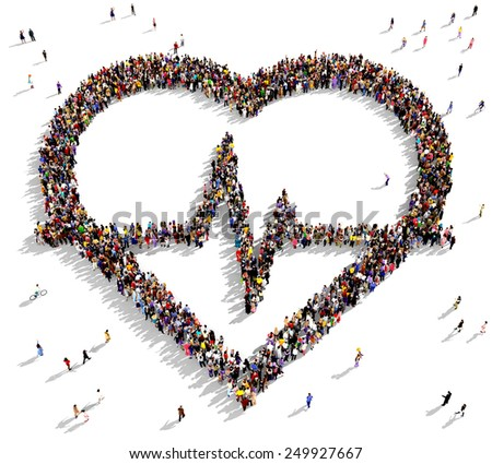 Large group of people seen from above gathered in the shape of a heart pulse icon - stock photo