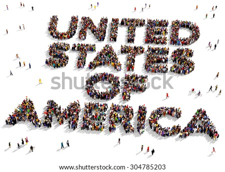 """Large group of people seen from above gathered in the shape of the text """"UNITED STATES OF AMERICA"""" - stock photo"""
