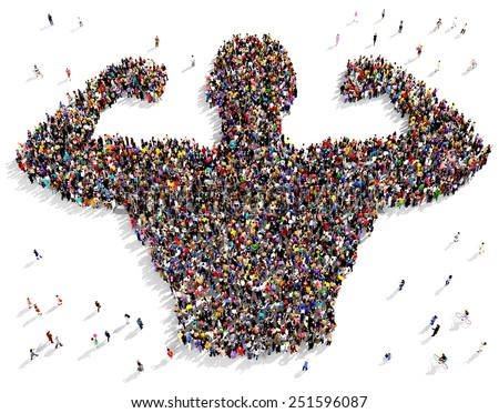 Large group of people seen from above gathered together in the shape of a bodybuilder - stock photo