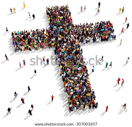 Large group of people seen from above gathered together in the shape of  a cross, on white background - stock photo