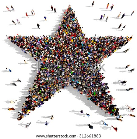 Large group of people seen from above gathered together in the shape of a five pointed star - stock photo