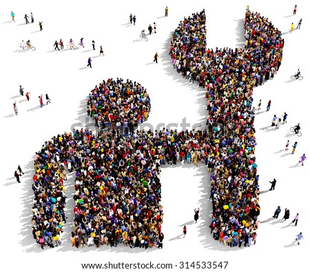 Large group of people seen from above gathered together in the shape of a fixing man symbol - stock photo