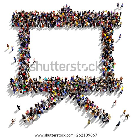 Large group of people seen from above gathered together in the shape of a flip chart - stock photo