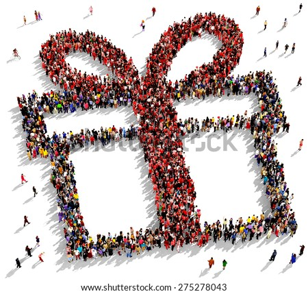 Large group of people seen from above gathered together in the shape of a gift box - stock photo