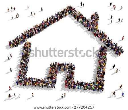 Large group of people seen from above gathered together in the shape of a house symbol - stock photo