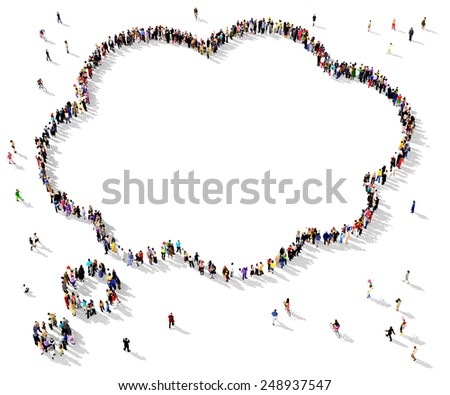 Large group of people seen from above gathered together in the shape of a thought bubble - stock photo