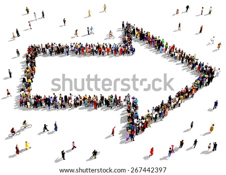 Large group of people seen from above gathered together in the shape of an outlined arrow pointing to the right. People around the shape looking towards the arrow's direction. - stock photo