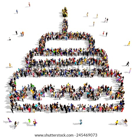 Large group of people seen from above gathered together in the shape of anniversary cake - stock photo