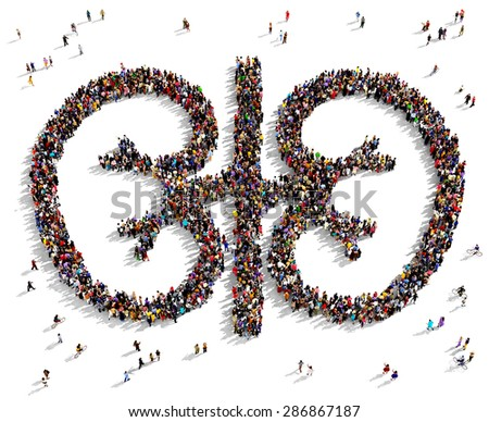 Large group of people seen from above gathered together in the shape of kidneys - stock photo