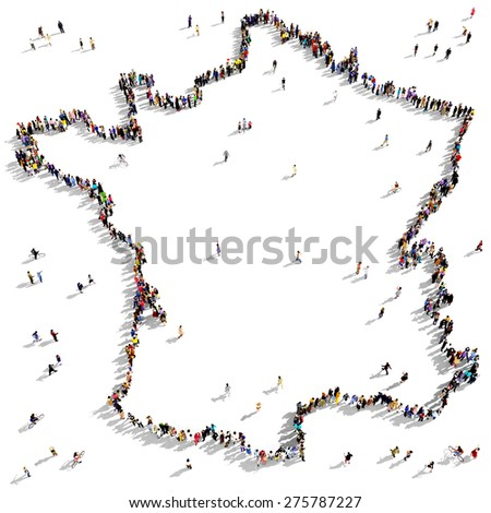 Large group of people seen from above gathered together in the shape of the map of France - stock photo