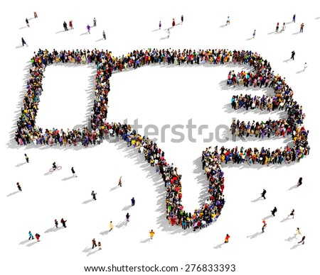 Large group of people seen from above gathered together in the shape of thumbs down symbol - stock photo