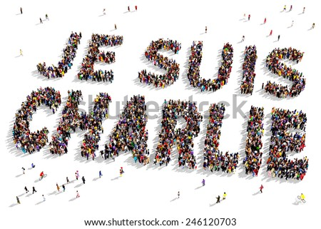 "Large group of people seen from above gathered together to form out the text ""Je suis Charlie"" - stock photo"