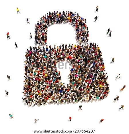 Large group of people that are seeking security protection , internet , identity theft , home protection concept. - stock photo