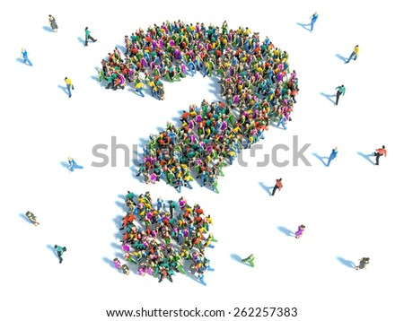 Large group of people with questions, thinking concept - stock photo