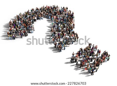 Large group of people with questions, thinking concept, or quest for answers on a white background. - stock photo
