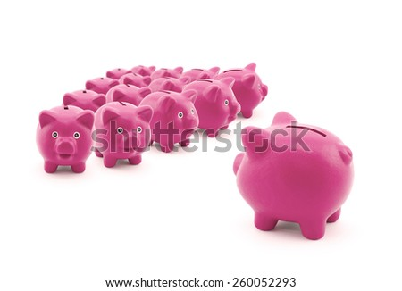 Large group of pink piggy banks - stock photo