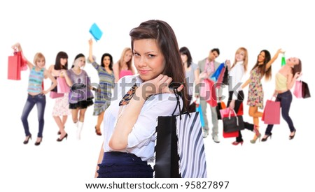 Large group of shopping people holding bags - stock photo