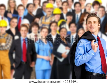 large group of smiling business people, doctors and workers - stock photo